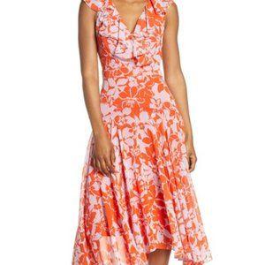 Eliza J Print Handkerchief Hem Midi Dress Poppy